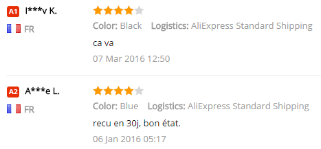 Les gens rendent des avis pessimistes sur AliExpress