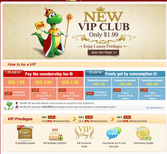 Le club VIP proposé par DinoDirect, l'un des meilleurs sites comme AliExpress