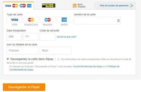 Il est possible d'enregistrer sa carte bleue sur AliExpress