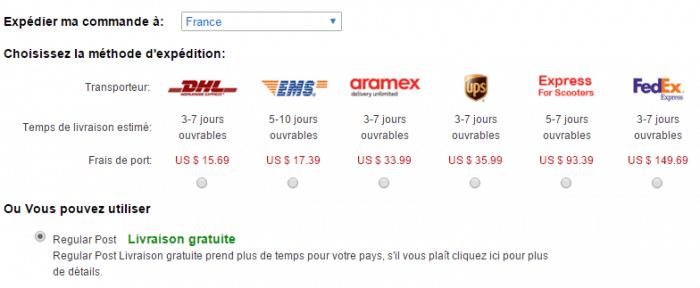 Les frais de livraison sur DinoDirect dépendent du transporteur que vous choisissez