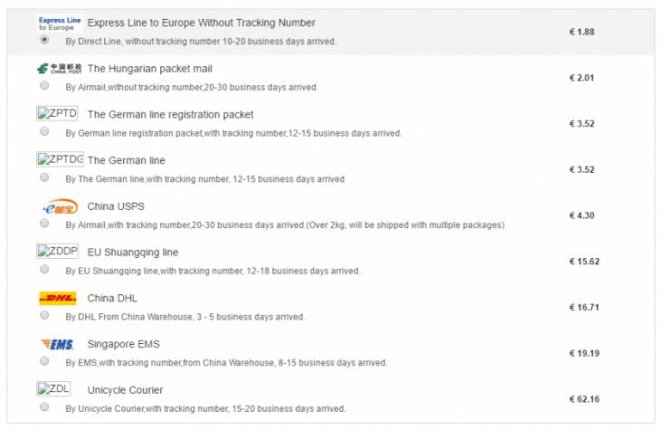 Les différents modes de livraison disponbiles sur TomTop : du moins cher au plus onéreux