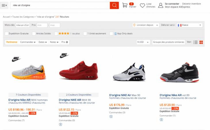 Voila comment se fait une recherche d'une paire de Nike sur AliExpress, modèle Nike Air original