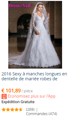 Paiement, livraison et retours d'une robe de mariée sur AliExpress