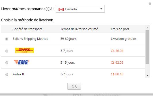 Les frais de livraison AliExpress Canada