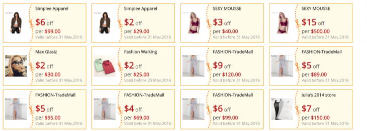 La page des coupons sur AliExpress réels