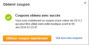 Un coupon sur AliExpress ajouté avec succes