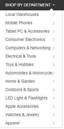 Les catégories sur GearBest
