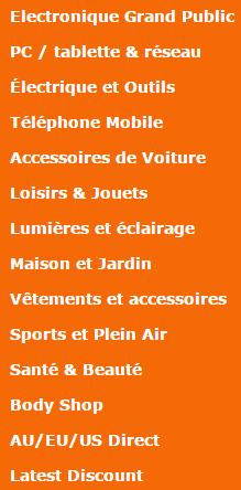 Les différentes catégories de produits proposées sur DealExtreme