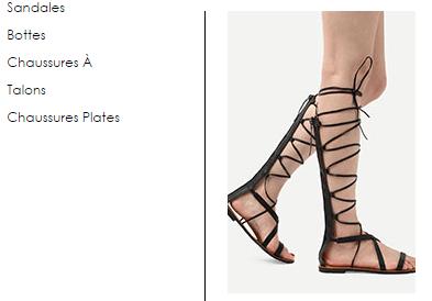 Les chaussures sur romwe
