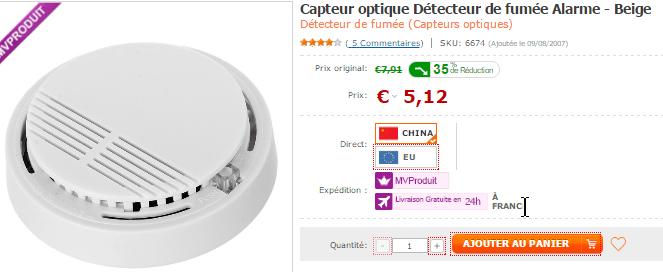 Un détecteur de fumée sur DealExtreme