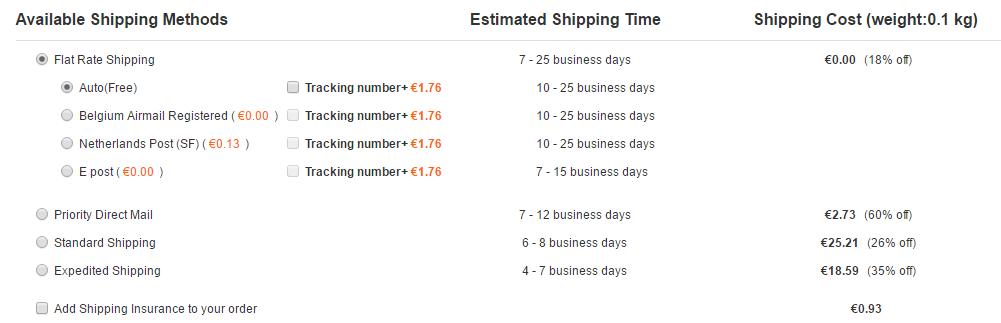 Les frais et les délais de livraison sur GearBest