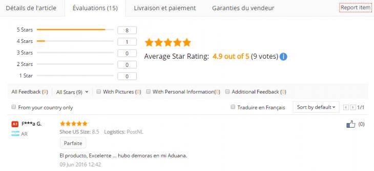 Les notes moyennes récoltées par un produit sur AliExpress