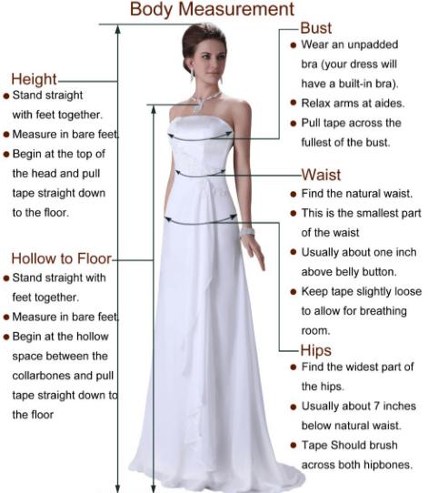 Les mesures et les tailles pour bien choisir sa robe sur AliExpress