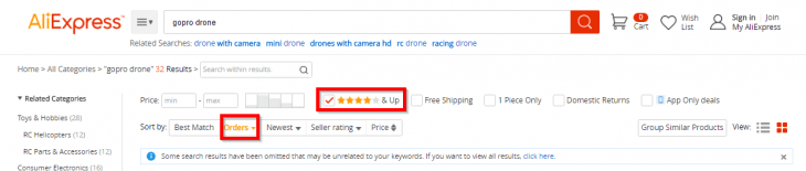 Finding a drone on aliexpress