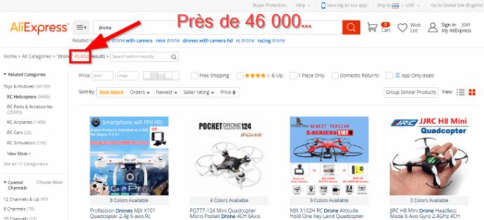 Le nombre de drone chinois proposés sur AliExpress