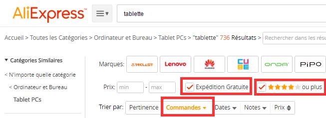Bien configurer les différents filtres pour acheter sa tablette sur AliExpress