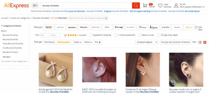 Comment bien faire une recherche de boucles d'oreilles avec le moteur d'AliExpress?