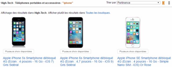 L'offre de téléphones iPhone sur Amazon