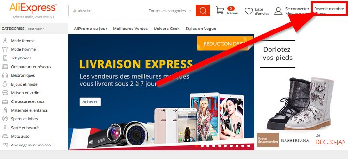 Devenir membre d'AliExpress