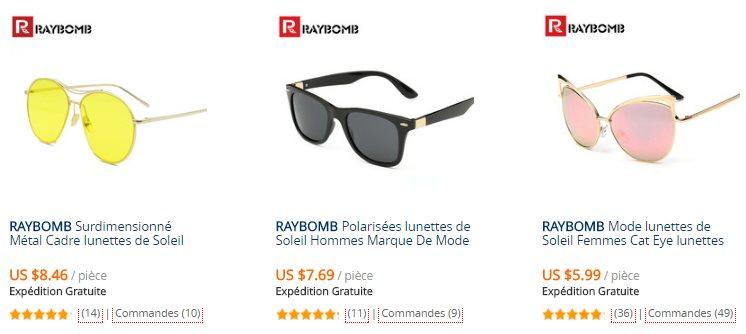 Les lunettes de soleil Raybomb sur AliExpress