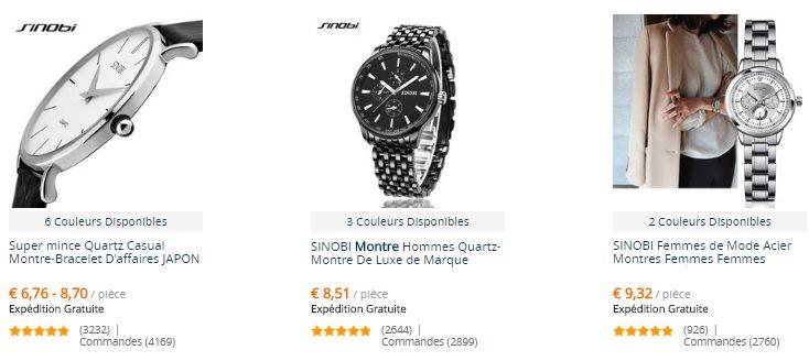 L'offre de montres proposées par la marque chinoise Sinobi sur AliExpress