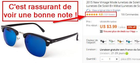 Une bonne note obtenue par des lunettes Ray-Ban sur AliExpress