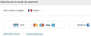 Sélection d'un mode de paiement sur AliExpress
