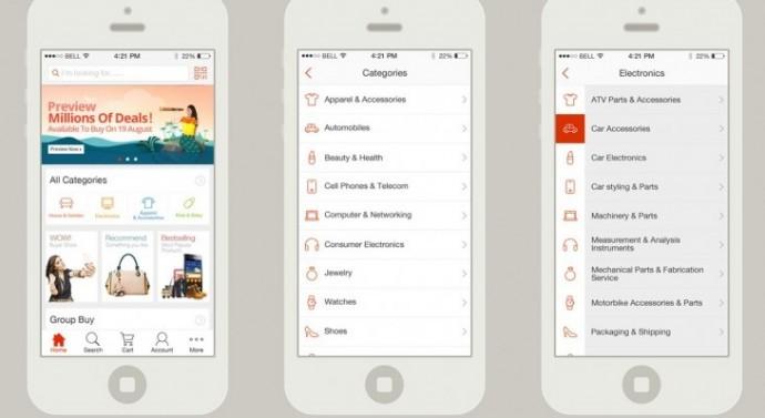 Design de l'application AliExpress pour Apple iOS