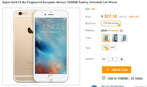 Iphone 6S sur CNDirect